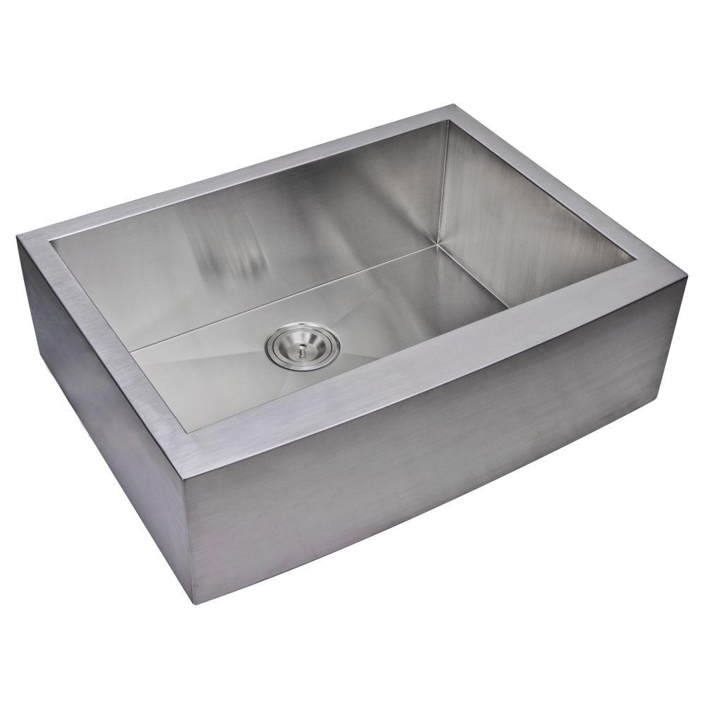 Water Creation Farmhouse Apron Front Zero Radius Stainless Steel 30 in. Single Bowl Kitchen Sink in Satin