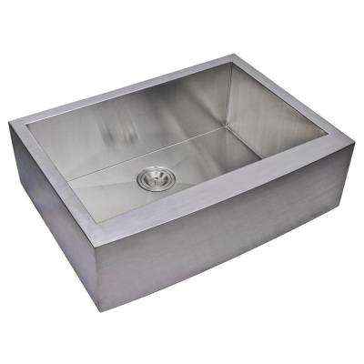 Farmhouse Apron Front Zero Radius Stainless Steel 30 in. Single Bowl Kitchen Sink in Satin