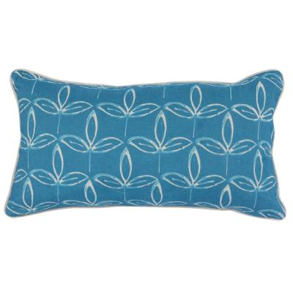 Kenzie Parisian Blue 14 in. x 26 in. Linen Reversible Print Decorative Pillow