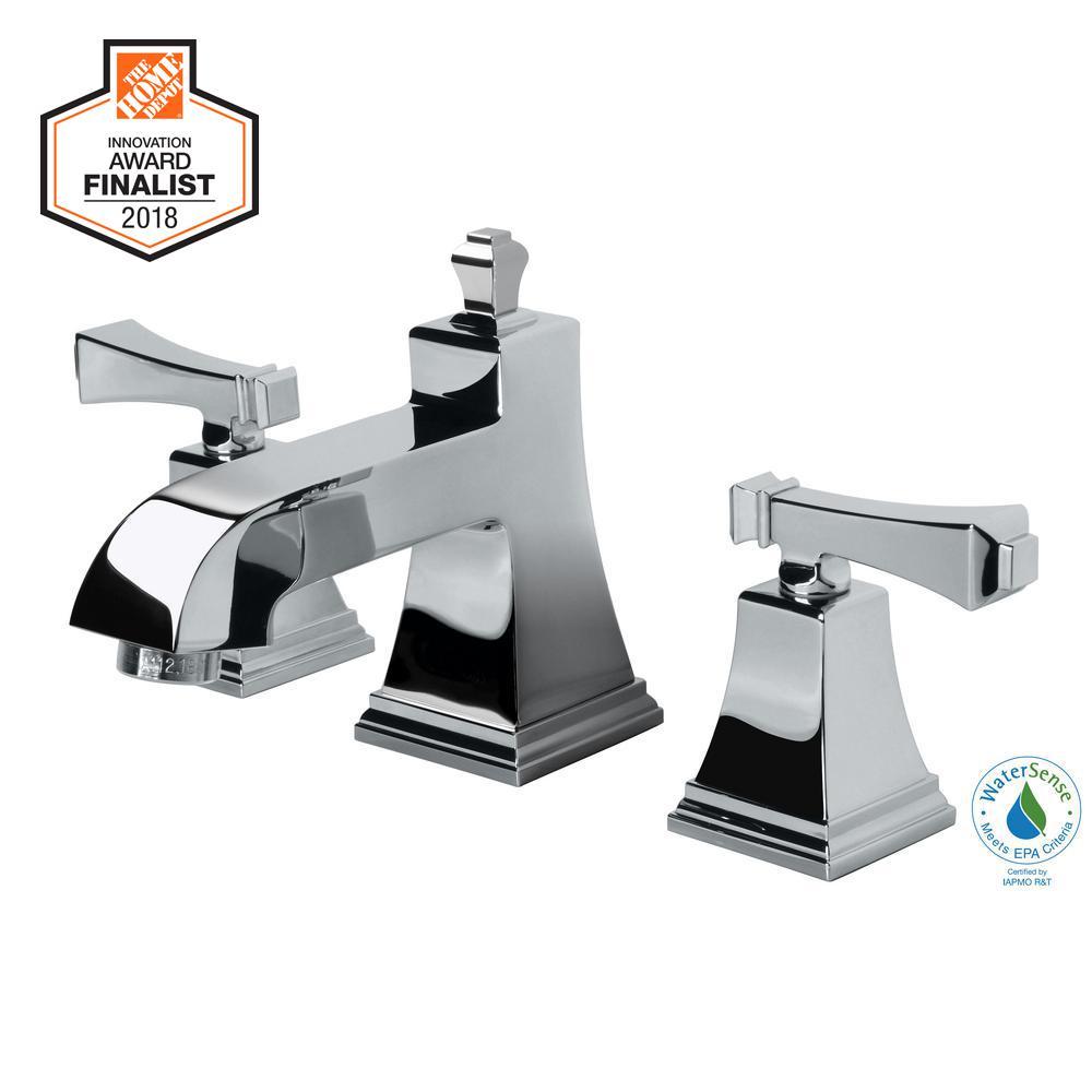 Exhibit 8 in. Widespread 2-Handle Low-Arc Bathroom Faucet in Chrome
