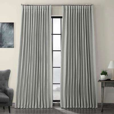 Heather Gray Faux Linen Extra Wide Blackout Curtain - 100 in. W x 84 in. L