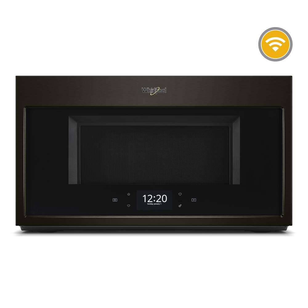 Whirlpool 1.9 cu. ft. Smart Over the Range Microwave in Black Stainless with Scan-to-Cook Technology, Black Stainless Steel Get the right settings for your family's meals using this Whirlpool brand over the range microwave with Scan-to-Cook technology. Your smart microwave remembers family favorites when you use the touchscreen, and bakes food right in the microwave with our convection microwave's True convection cooking setting. Plus, this over the range microwave is fingerprint-resistant so smudges don't happen. Color: Black Stainless Steel.