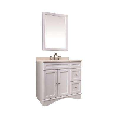 36 in. Vanity in White Veneer with Marble Vanity Top in Beige