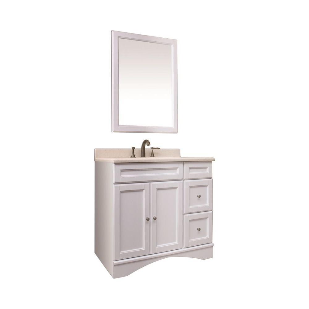 36 Inch Vanity Light Refresh Kit : Dreamwerks 36 in. Vanity in White Veneer with Marble Vanity Top in Beige-V-19710B - The Home Depot