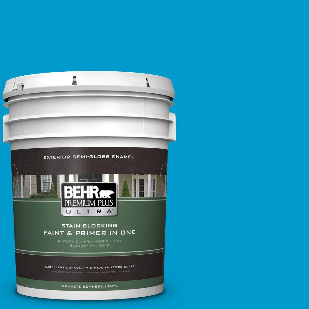 BEHR Premium Plus Ultra 5-gal. #550B-6 Isle of Capri Semi-Gloss Enamel Exterior Paint