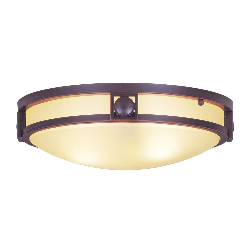 Livex Lighting Providence 2-Light Olde Bronze Flushmount with Iced Champagne Glass Shade