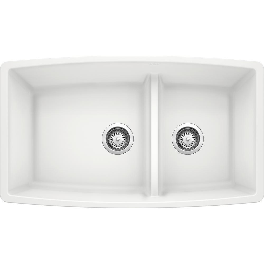 Blanco PERFORMA Undermount Granite Composite 33 in. 60/40 Double Bowl Kitchen Sink with Low Divide in White