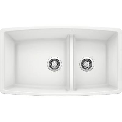 PERFORMA Undermount Granite Composite 33 in. 60/40 Double Bowl Kitchen Sink with Low Divide in White