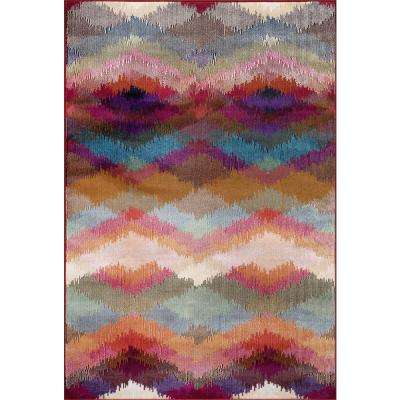 Distressed Modern Geometric Multi 5 ft. 3 in. x 7 ft. 3 in. Indoor Area Rug