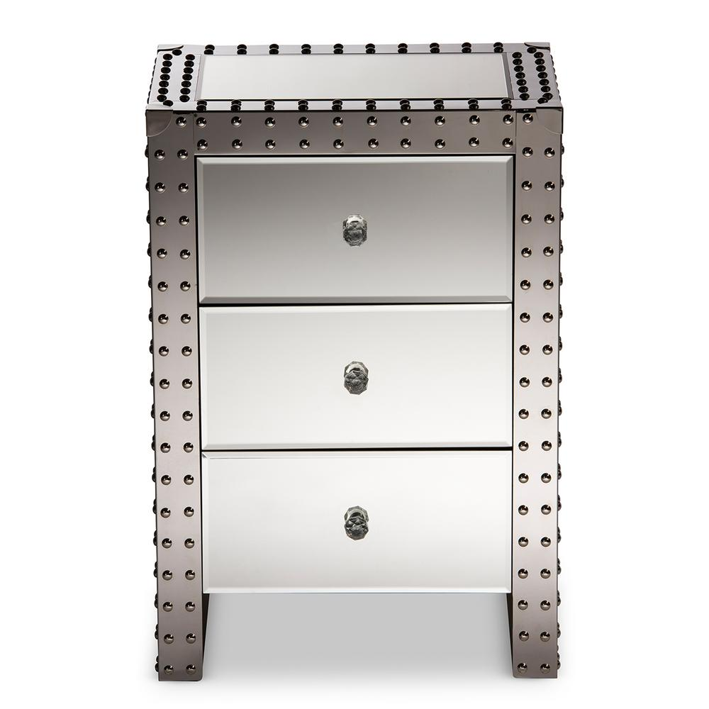 "Azura 3-Drawer Silver Mirrored Nightstand, ""silver"" Mirrored"