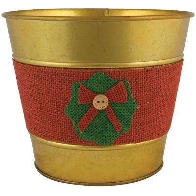 Jute Wreath 7 in. Dia. Gold Tin Pot