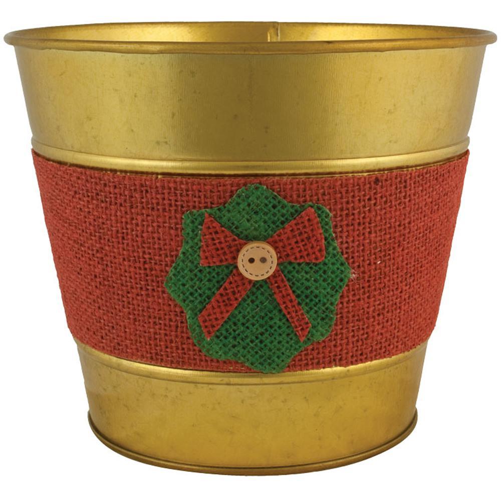 Jute Wreath 7 in. Dia. Gold Tin Pot
