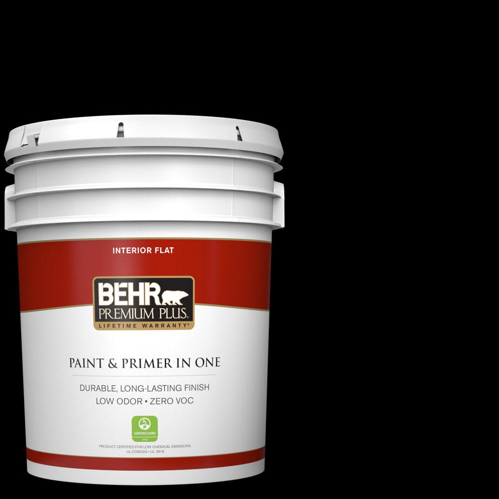 Behr Premium Plus 5 Gal Black Flat Zero Voc Interior Paint And Primer In One 130005 The Home
