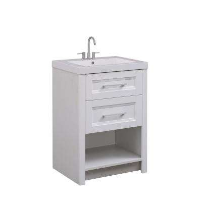 24 in. W x 17.75 in. D x 34 in. H Vanity in Modern White Finish with White Cultured Marble Top and Basin