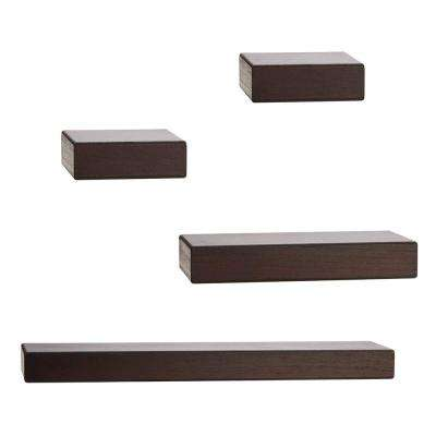 4-Piece Cherry Wood Floating Chunky Ledge Decorative Wall Shelf Set