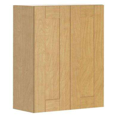 Ready to Assemble 24x30x12.5 in. Milano Wall Cabinet in Maple Melamine and Door in Clear Varnish