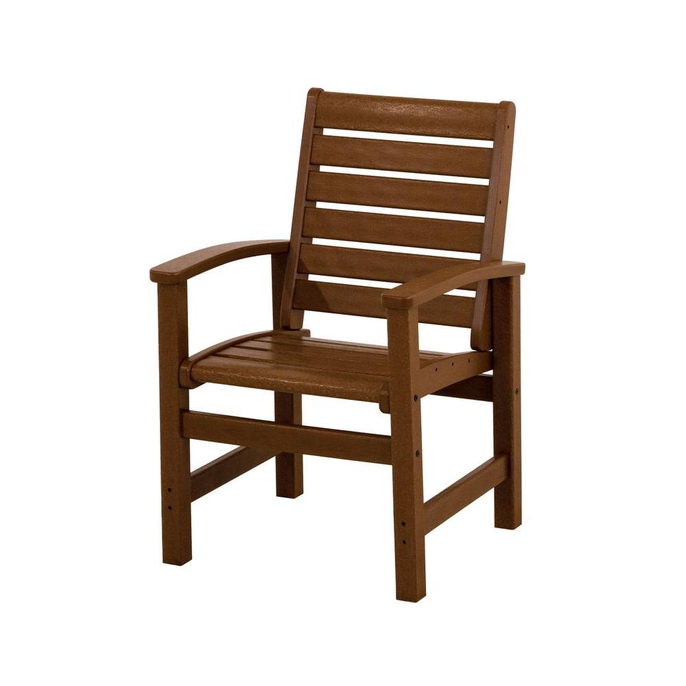 POLYWOOD Signature Teak Plastic Outdoor Patio Dining Chair