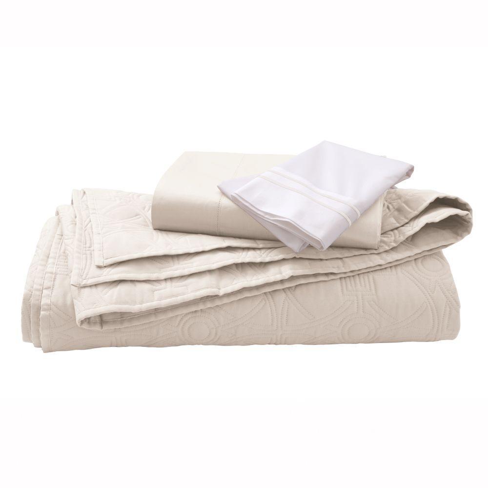 Home Decorators Collection Kenna Nano White King Quilt Set