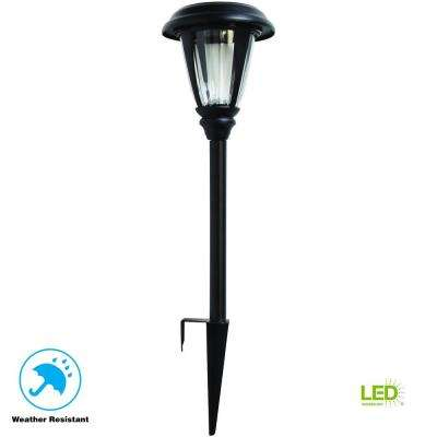 Solar Black Outdoor Integrated LED 3000K 30-Lumens Landscape Path Light with Glass Lens (4-Pack)