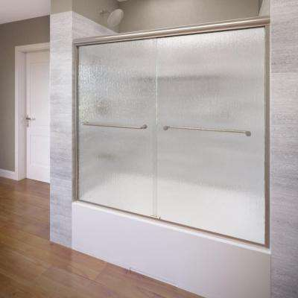 Infinity 58-1/2 in. x 57 in. Framed Sliding Tub Door in Brushed Nickel