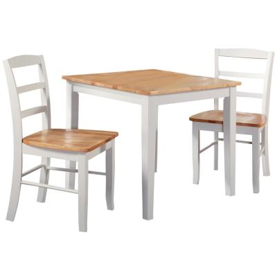 Emma 3-Piece 30 in. White and Natural Square Solid Wood Dining Set with Madrid Chairs