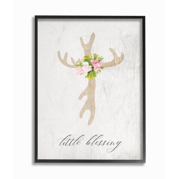 24 In X 30 In Floral Antler Cross Little Blessing Baby Typography By Daphne Polselli Framed Wall Art