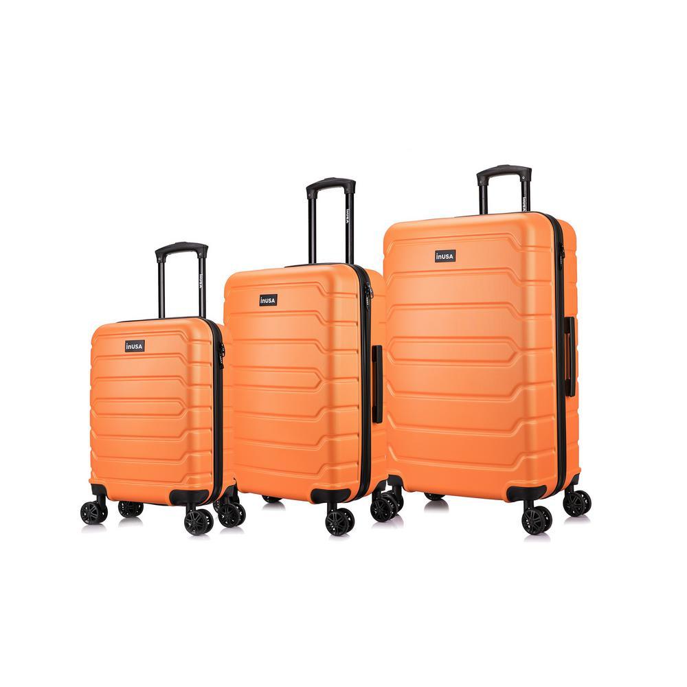 Trend 20 in./24 in./28 in. Orange Lightweight Hardside Spinner 3-Piece Set
