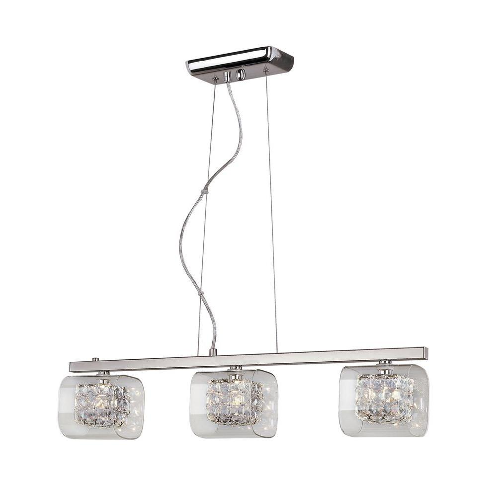 Bel Air Lighting 3-Light Polished Chrome Pendant