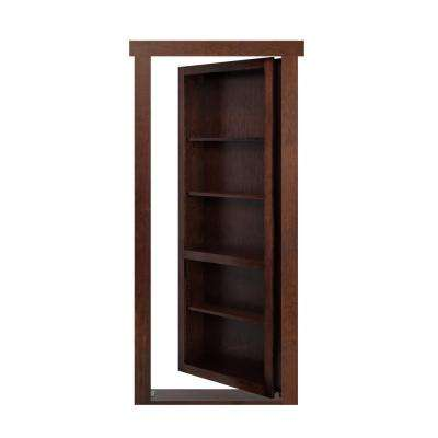 28 in. x 80 in. Assembled Dark Brown Stained Maple Flush Mount Bookcase Wood Single Prehung Interior Door