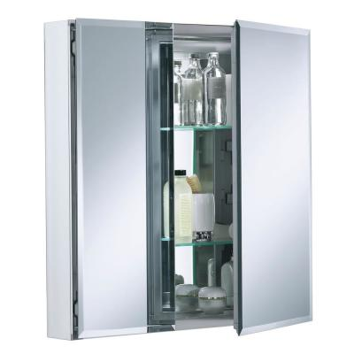 Double Door 25 in. W x 26 in. H x 5 in. D Aluminum Cabinet with Square Mirrored Door in Silver