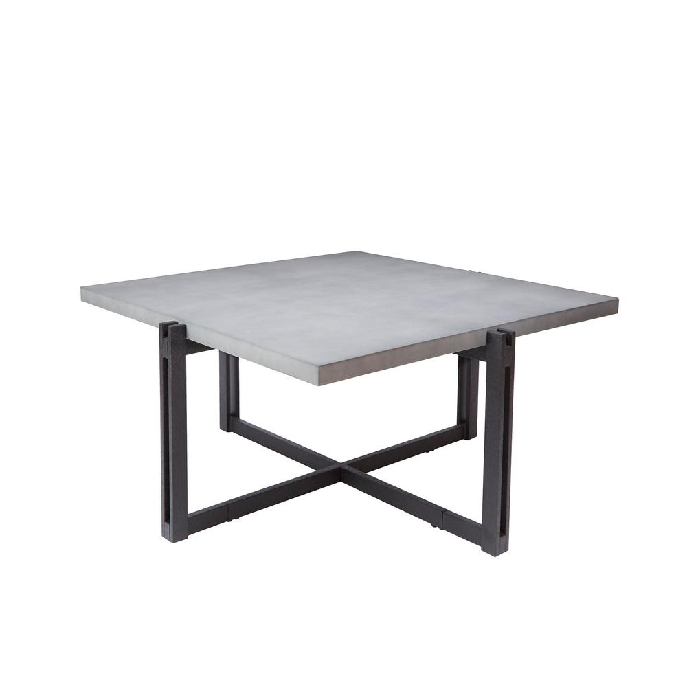 Silverwood Furniture Reimagined Dakota Gray Square Concrete Top Coffee Table Cpft1275cofscc The Home Depot