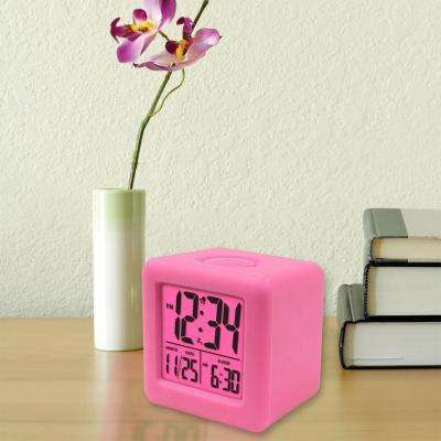 3-1/4 in. x 3-1/4 in. Soft Pink Cube LCD Digital Alarm Clock