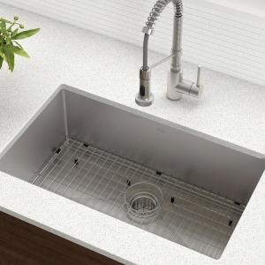 Kraus Standart Pro 30in 16 Gauge Undermount Single Bowl Stainless Steel Kitchen Sink Khu100 30 The Home Depot