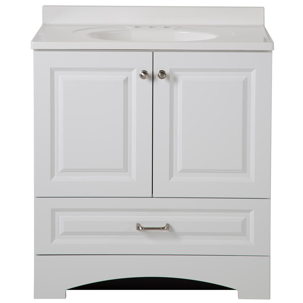 Glacier Bay Lancaster 30 In W X 19 In D Bath Vanity And Vanity Top In  Whitelc30p2comwh  The Home Depot