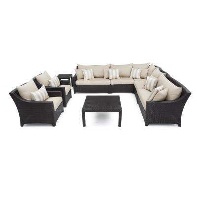 Deco 9-Piece Patio Sectional Seating Set with Slate Grey Cushions