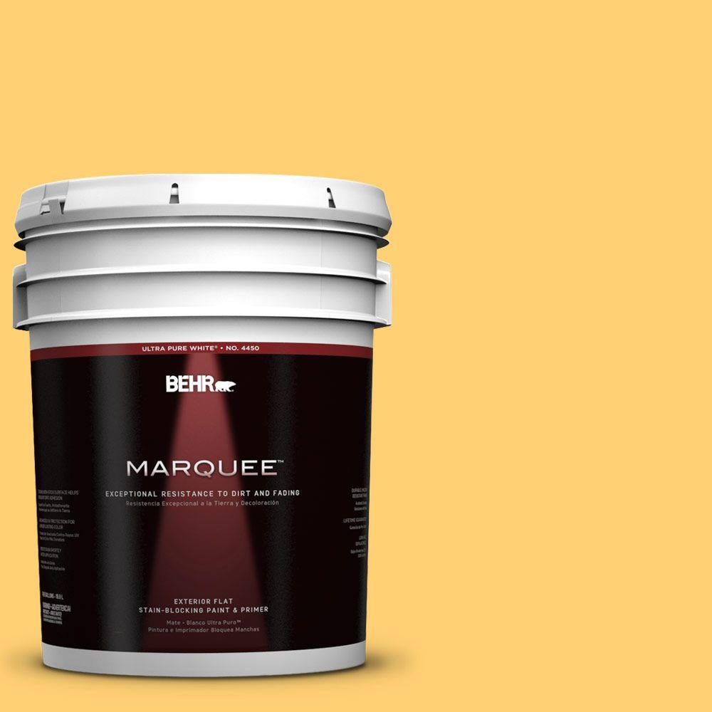 BEHR MARQUEE 5-gal. #320B-6 Mellow Yellow Flat Exterior Paint