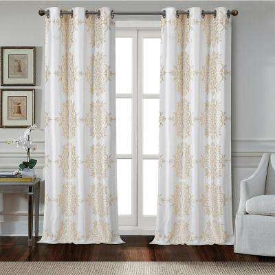 Medallion 84 in. Polyester Room Darkening Grommet Window Curtain Panel Pair in Champagne (2-Pack)