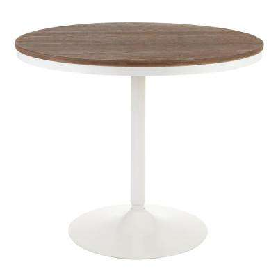 Dakota Round Industrial Dining Table in White Metal and Brown Wood
