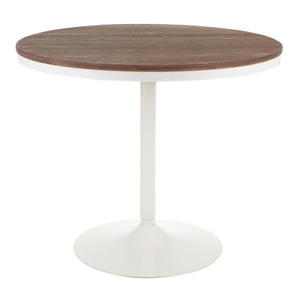 White And Brown Dining Table: Lumisource Dakota Round Industrial Dining Table In White