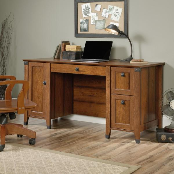 Sauder Carson Forge Washington Cherry Computer Desk 422032 The