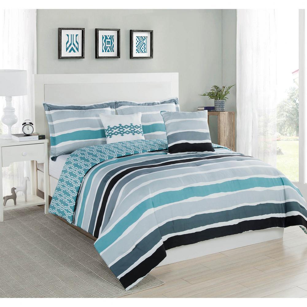 Studio 17 Tie Dye Stripe Aqua/Ivory 5-Piece Full/Queen Comforter Set