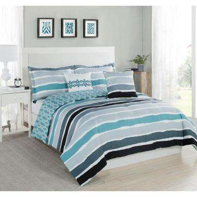 Studio 17 Tie Dye Stripe Aqua/Ivory 5-Piece Full/Queen Comforter Set
