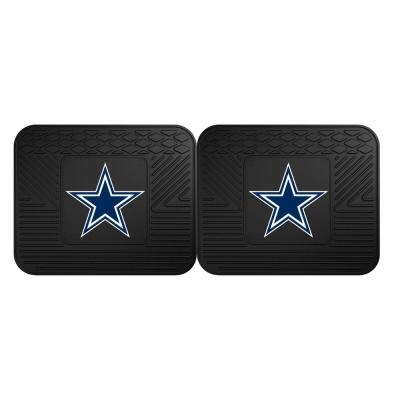 NFL Dallas Cowboys Black Heavy Duty 2-Piece 14 in. x 17 in. Vinyl Utility Mat
