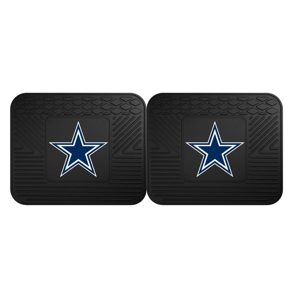 NFL Dallas Cowboys Black Heavy Duty 2-Piece 14 in. x 17 in. Vinyl Utility Mat