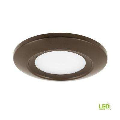 5.5 in. Surface Mount Collection 12-Watt Antique Bronze Integrated LED Flushmount