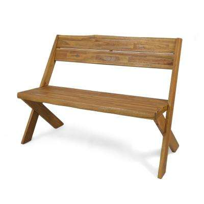 Rylee 48 in. Sandblast Teak Wood Outdoor Bench