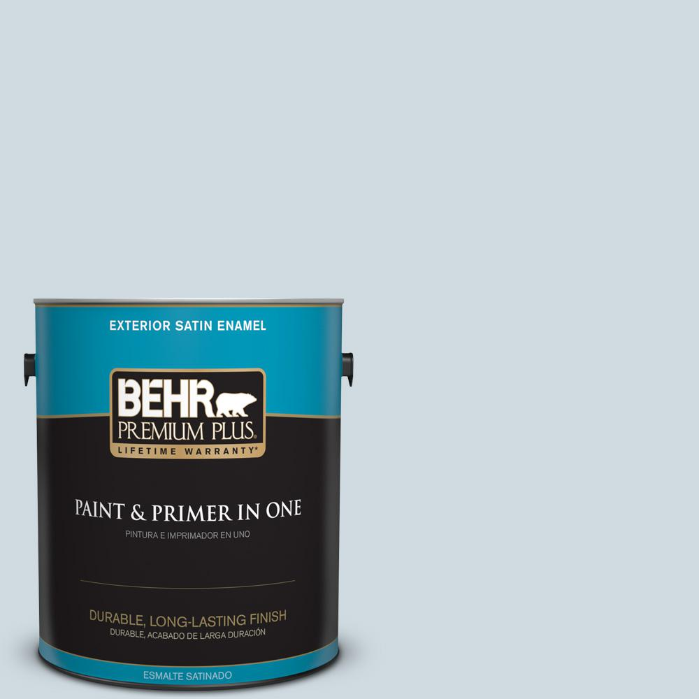 1 gal. #MQ3-57 Siberian Ice Satin Enamel Exterior Paint and Primer