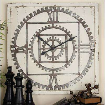 43 in. Gearwheels Square Wall Clock with LED Light