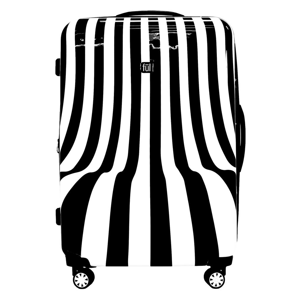 White Swirl 28 in. Black and White Stripe Hard-sided Spinner Luggage