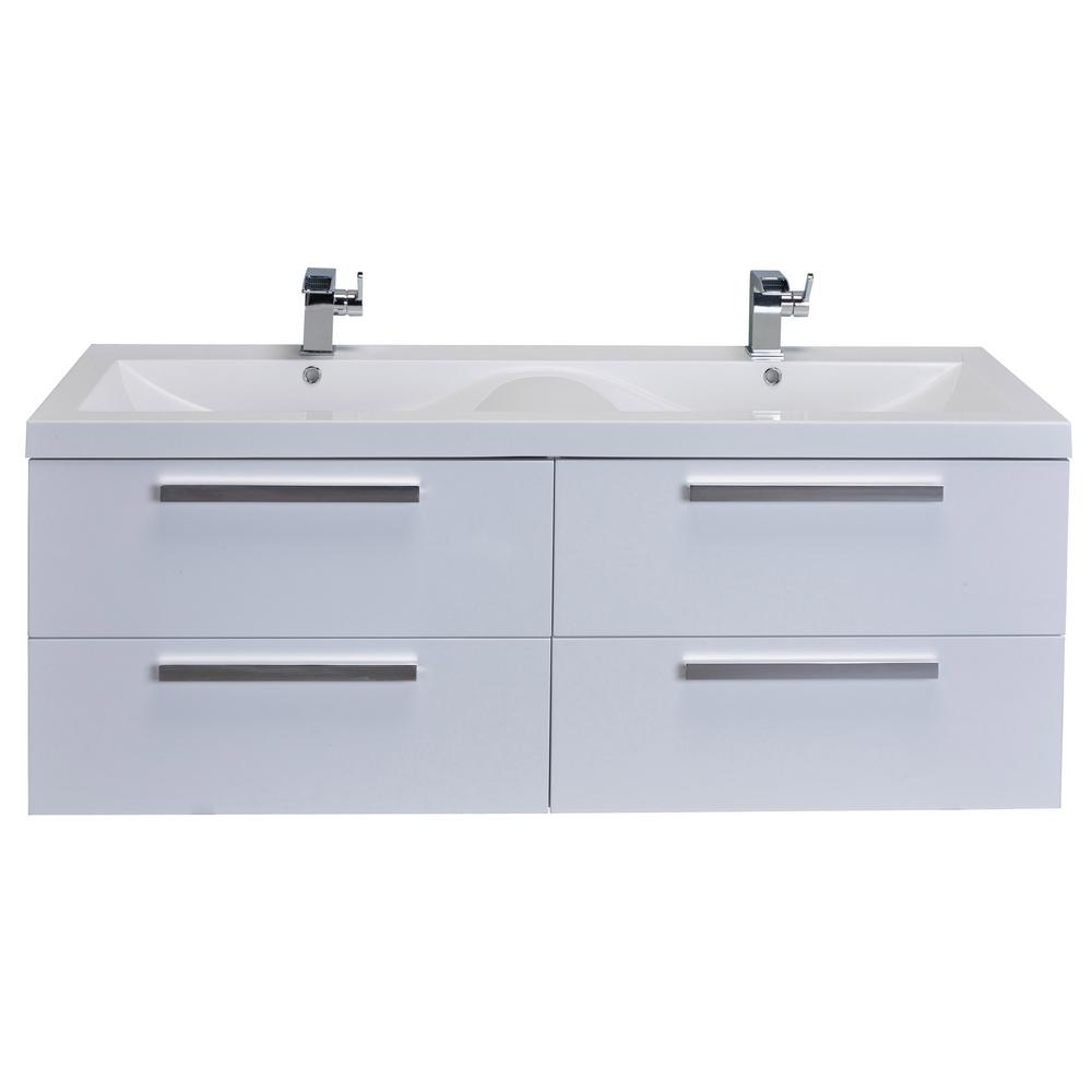 Eviva Surf 57 in. W x 19 in. D x 24 in. H Vanity in White with Acrylic Top in White with White Basin